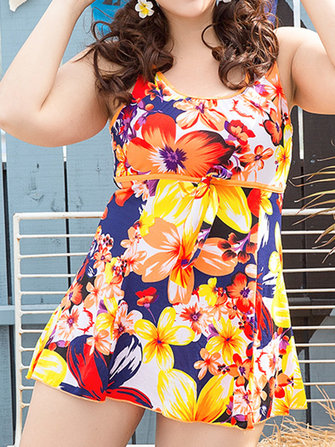 Donne Plus Size Floral Blooming Backless senza maniche Swimdressseses