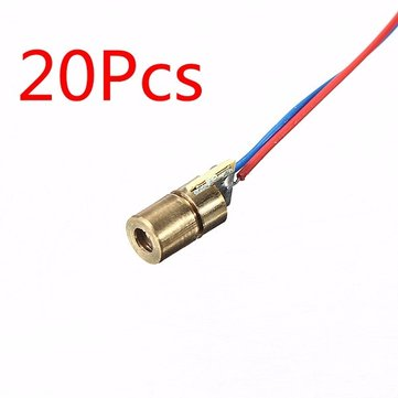 20 Pcs DC 5V 5mW 650nm 6mm Laser Dot Diode Module Red Copper Head Tube