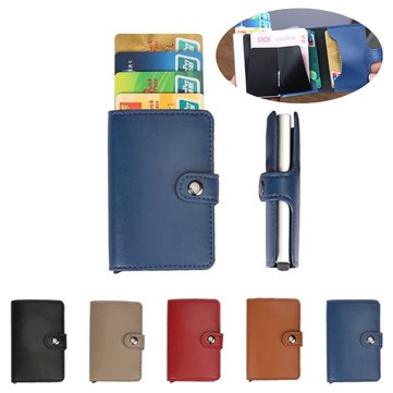 Men Women Aluminum Credit Card Case Protector Holder PU Leather Wallet Organizer