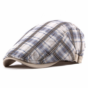 Unisex Casual Adjustable Plaid Cotton Beret Peaked Cap Hat