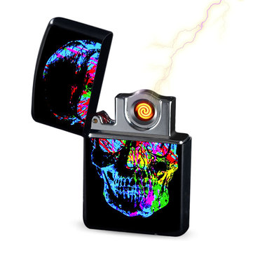 Halloween KCASA WD831 Creative Double Sided Shake Shake Lighter Windproof USB Lighter With Changeable Electronic Hot Wire Ignitor