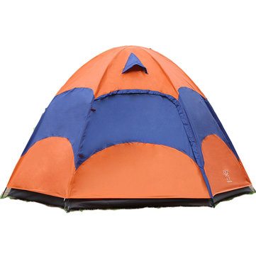 Outdoor 3-5 Persons Large Camping Tent Double Layer Rainproof Anti-UV Sun Shade Canopy
