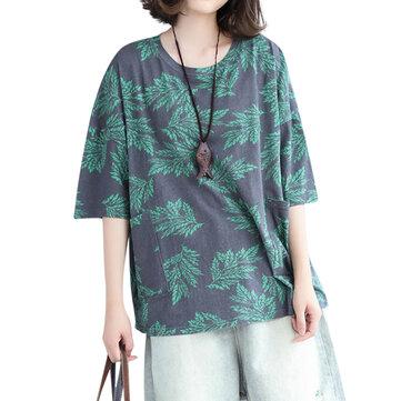 Loose Women Top Casual Leaf Sacs imprimés T-shirt en coton
