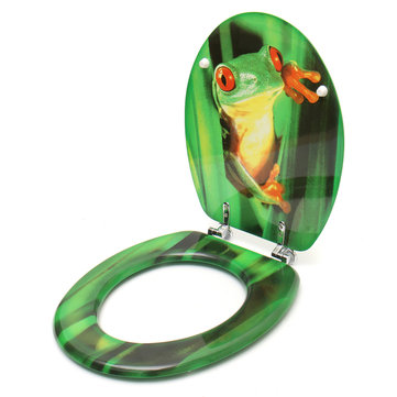 Medium Density Fiberboard MDF Frog Patterns Bathroom Toilet Lid WC Toilet Seat Cover