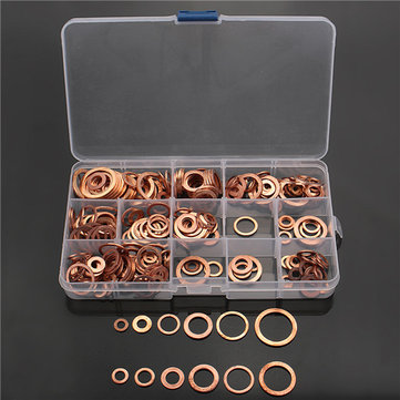 280Pcs M5-M20 Solid Copper Washer Set for Tap Plumbing Garage Engine Assorted Sump Plug