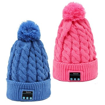Warm Soft Beanie Hat Wireless Bluetooth Smart Cap Headphone with Mic