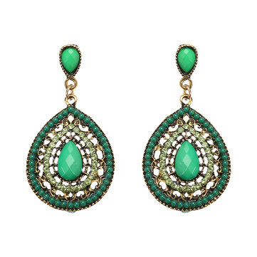 Bohemian Rhinestone Water Drop Pendant Ear Stud Piercing Earrings Clothing Accessories for Women