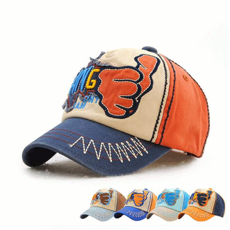 Kids Children Thumbs Embroidered Letter Contrast Color Baseball Hat Casual Breathable Cap