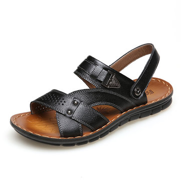 Outdoor US Size 6.5-10 Men Leather Flat Sandals Beach Massage Soft Slippers Shoes