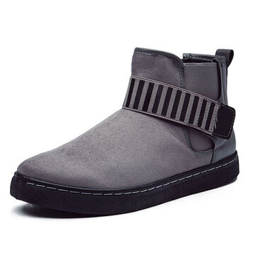 Men Hook Loop Stripe Elastic Band Comfortable Suede Ankle Boots