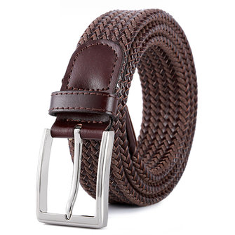 Mens Womens Leisure Canvas Elastic Fabric Woven Stretch Multicolored Braided Belts Pin Buckle