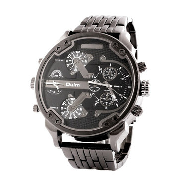 OULM HT3548 Men Watch Two Time zones Fashion Business Alloy Quartz Wrist Watch