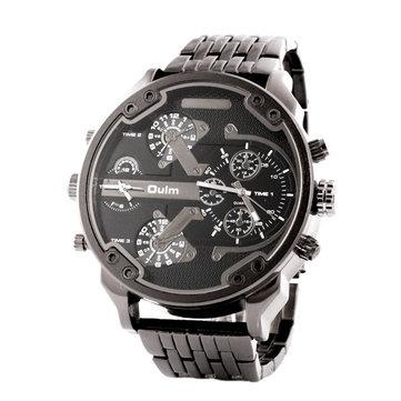 OULM HT3548 Men Watch Two Time zones Fashion Business Alloy Quartz Montre bracelet