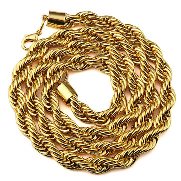 Punk Style Gold Chain Simple Zinc Alloy Long Necklace Jewelry for Men