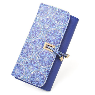 Women PU Leather RFID Floral Large Capacity Multifunction Card Holder Purse Wallet