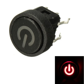 10Pcs Red LED Power Symbol Momentary Latching Switch LED Light Push Button SPST