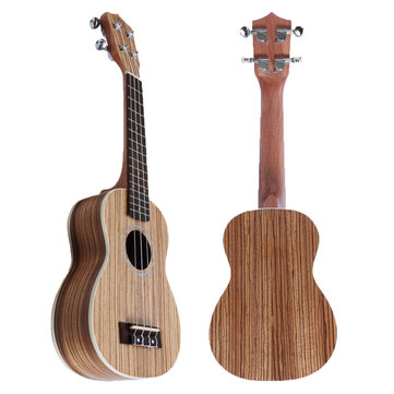 21 Inch 4 String Soprano Ukulele Hand Crafted Zebra Wood Hawaiian Music Instrument