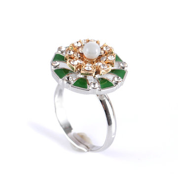 Bohemian Rotating Flower Women's Ring Elegant Pearl Diamond Adjustable Finger Ring for Women