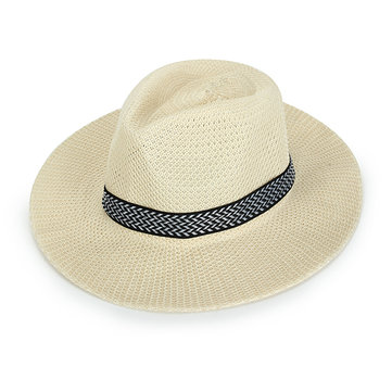 Unisex Polyester Straw Floppy Wide Brim Sun Hat Fedora Beach Panama Hats For Men Women