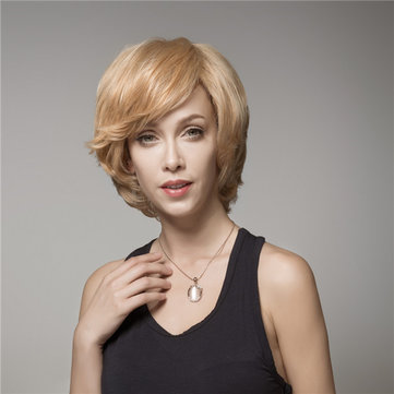 Elegant Short Wave Human Hair Wig Virgin Mono Top Remy Side Bang Capless