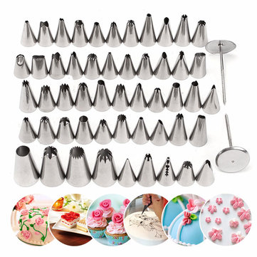 52Pcs Stainless Steel Icing Piping Nozzles Pastry Tips Fondant Cake Sugarcraft Decorating Tool
