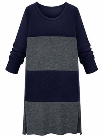 Plus Size Slim Color Block Long Sleeve Knit Dress