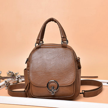 Women Leisure Handbag Soft Leather Double Layer Crossbody Bag Backpack