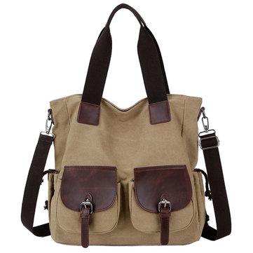 Women Men Canvas Durable Vintage Multi Pocket Shoulderbags Crossboby Bag