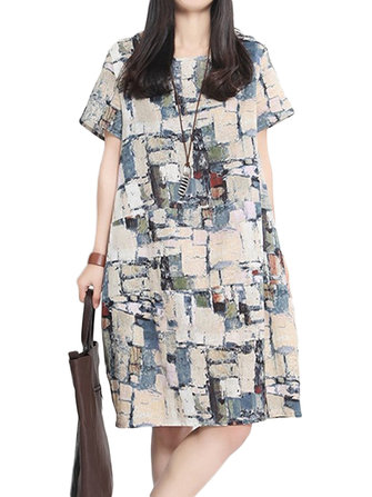 Vintage Women Color Block Printed Short Sleeve O-Neck Dresses