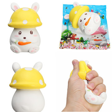 Squishy Slow Rising 12.5CM Mushroom Carrot Bunny Rabbit Phone Straps Pendant Toy Original Packaging