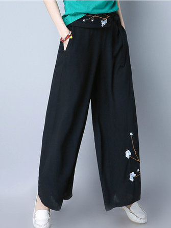 Folk Style Embroidery Loose Casual Wide Leg Pants