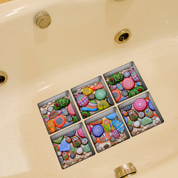 PAG 6pcs 13x13cm Cartoon Stone Pattern 3D Anti Slip Waterproof Bathtub Sticker
