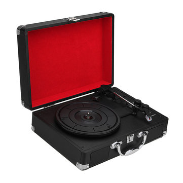 V1 Bluetooth Portable Suitcase Record Player 3-Speed Aux-in MP3 Record Player With Speaker