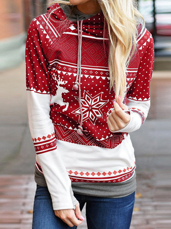 Long Sleeve Hooded Christmas Print Pullover Sweatshirt