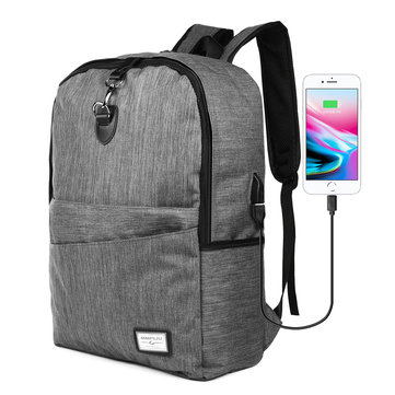 USB Charging Backpack Anti-Thief Laptop Travel Shoulder Bag with Headphone Plug for Macbook