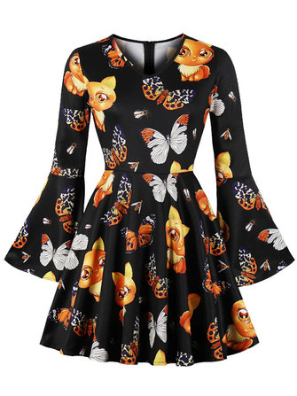 Halloween Women Fox Print Ruffle Sleeve Party Mini Dress