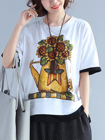Casual Women Contrast Färg kortärmad tryckt O-Neck T-shirt