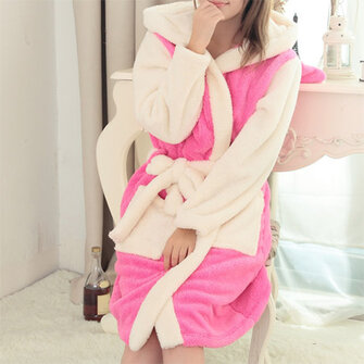Women Men Comfy Hooded Bathrobe Thicken Coral Velvet Lovely Animals Robes