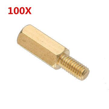 Suleve™ M3BH3 100Pcs M3 10mm+6mm Male-Female Brass Hex Standoffs Support Spacer Pillar for PCB Board