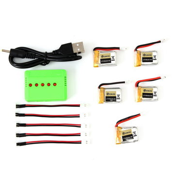 5PCS Eachine E010-0006 RC Quadcopter Spares Parts 3.7V 150MAH 45C Upgrade Battery Charger Set