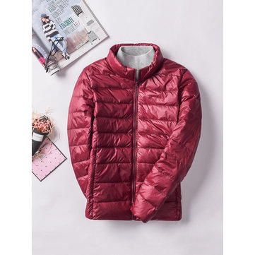 6 Color Casual Women Pure Color Long Sleeve Down Jacket