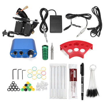 Beginner Tattoo Machine Kit Complete Set Power Supply Needle Pedal Clip Cord