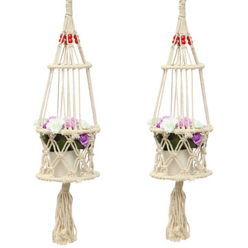63cm 4 Legs Creamy-white Jute Plant Hanger Flower Pot Holder Flowerbed Hanging Basket