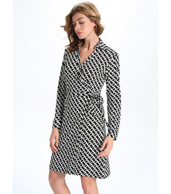 Women Print Long Sleeve V-Neck Knitting Cardigan Dress