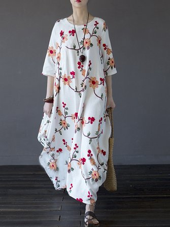 Vintage Women Floral Embroidered Half Sleeve Irregular Robe Dress