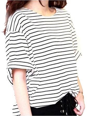 Casual Loose Women Short Sleeve O-Neck Striped Rayon T-Shirt