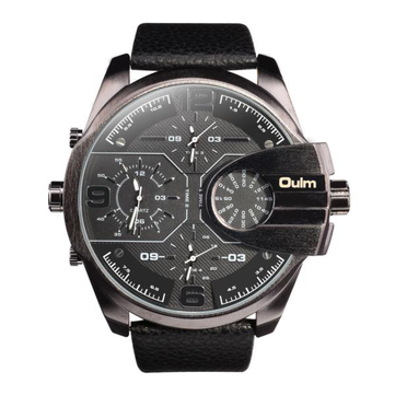 OULM 3790 Multi Time Zones Compass Men Watch Casual Style Leather Band Quartz Watch