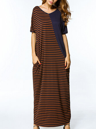Casual Short Sleeve Stripe Patchwork Loose O-neck Maxi Dresses