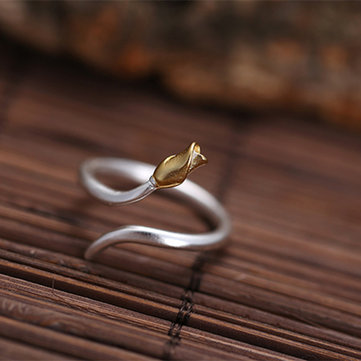 925 Sterling Silver Sweet Rose Finger Ring Fashion Adjustable Finger Rings Trendy Jewelry for Women