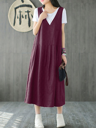 Women Vintage Sleeveless V-neck Pure Color Mid-long Dress
